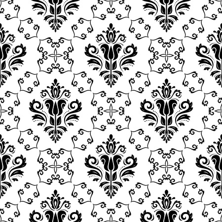 Oriental  pattern with damask, arabesque and floral elements. Light seamless abstract background