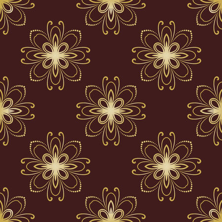 Floral vector oriental pattern with damask, and floral golden elements. Seamless abstract ornament for backgrounds