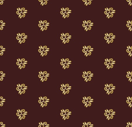 tillable: Floral vector oriental pattern with golden floral elements. Seamless abstract ornament for backgrounds