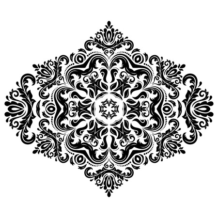 patch of light: Damask vector floral pattern with arabesque and oriental elements. Abstract traditional ornament for backgrounds. Black and white colors