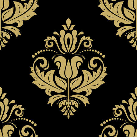 rapport: Floral  oriental dark pattern with damask, arabesque and floral golden elements. Seamless abstract ornament for wallpapers and backgrounds