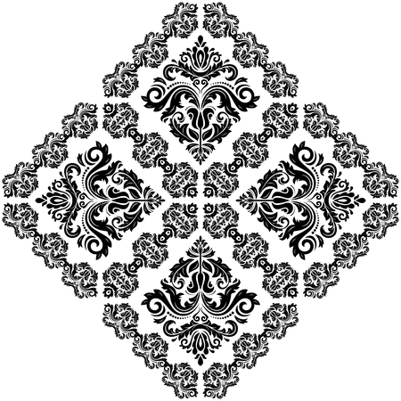 Damask vector floral pattern with arabesque and oriental elements. Abstract traditional ornament for backgrounds. Black and white colors Vector