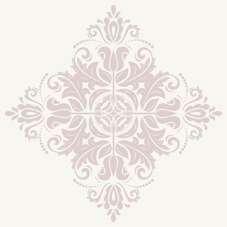 Damask vector floral pattern with pink arabesque and oriental elements. Abstract traditional ornament for backgrounds