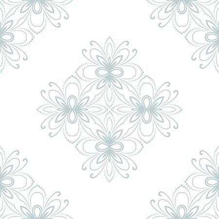 blue damask: Floral vector oriental pattern with blue damask and floral elements. Seamless abstract ornament for backgrounds