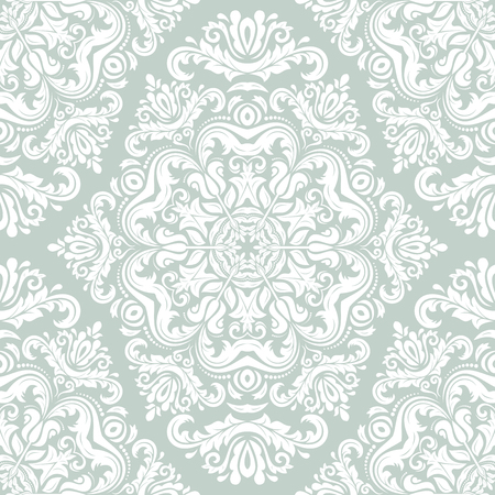 Oriental  pattern with damask, arabesque and floral white elements. Seamless abstract background photo