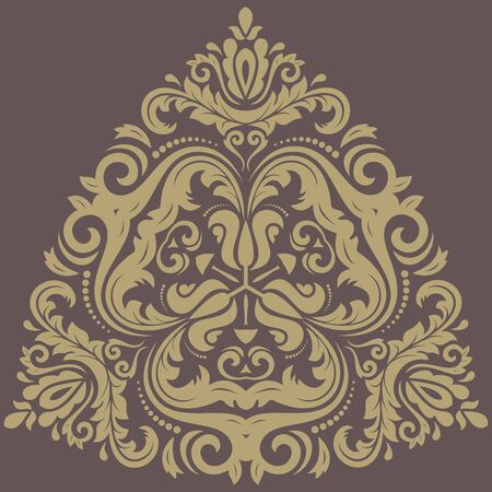 Damask  floral pattern with arabesque and oriental golden elements. Abstract traditional ornament for wallpapers and backgrounds photo