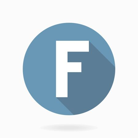 letter f: Letter F with flat design and long shadow. Blue and white colors Stock Photo