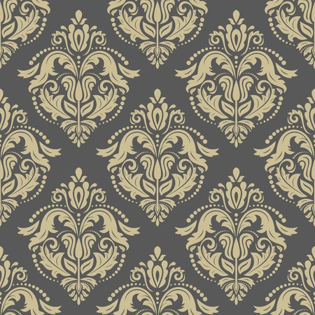 Pattern in the style of baroque. Seamless vector background. Damask texture with golden orient and floral elements
