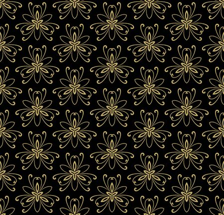 tillable: Floral vector oriental pattern with damask and floral elements. Seamless abstract golden ornament for backgrounds Illustration