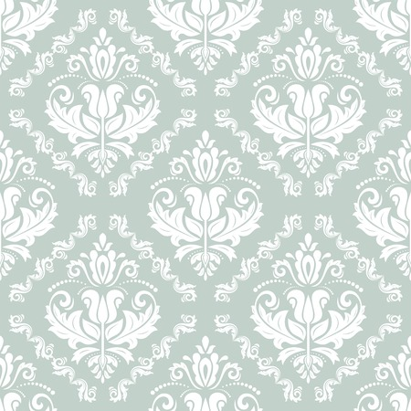 Pattern in the style of baroque. Seamless vector background. Damask texture with orient and floral elements. Blue and white colors Vector