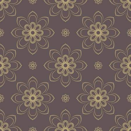 rapport: Floral vector oriental pattern with damask and floral golden elements. Seamless abstract ornament for backgrounds