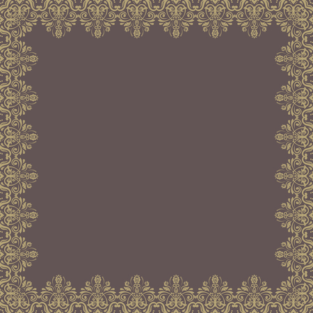 Oriental vector frame with golden arabesque and floral pattern. Abstract frame Vector