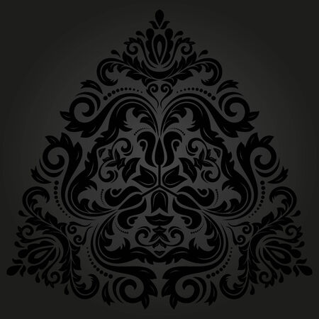 Damask vector floral pattern with arabesque and oriental black elements. Abstract traditional ornament for backgrounds Vector
