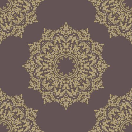 damask pattern: Floral  oriental pattern with damask, arabesque and floral golden elements. Seamless abstract ornament for wallpapers and backgrounds Stock Photo