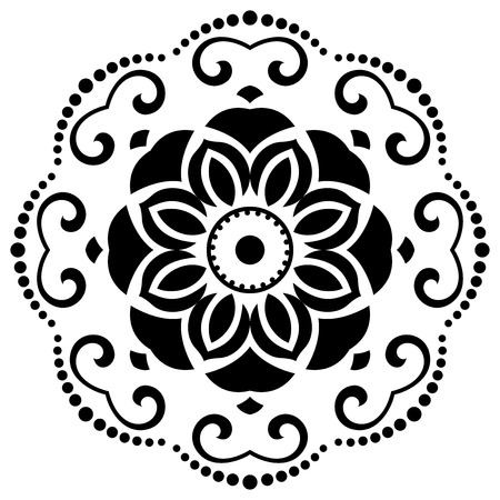 Oriental vector pattern with arabesque and floral elements. Abstract ornament. Black and white colors Vector