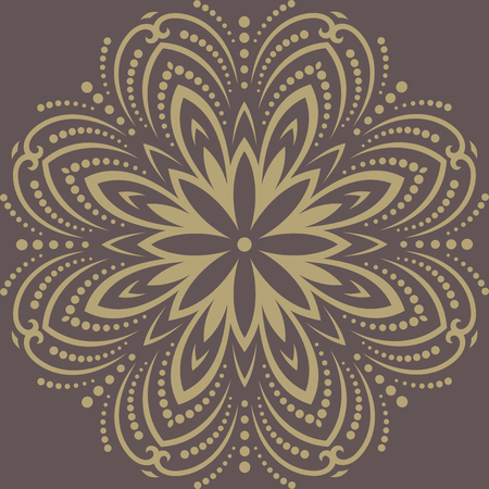 Damask vector floral pattern with arabesque and oriental elements. Abstract traditional golden ornament for backgrounds Vector