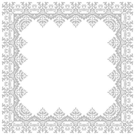oriental vector: Oriental vector frame with grey damask, arabesque and floral pattern. Abstract ornament