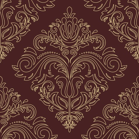 Damask vector floral pattern with arabesque and oriental golden elements. Abstract traditional ornament for backgrounds Vector