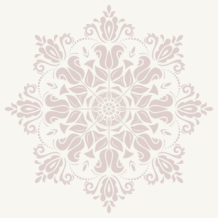 Damask vector floral pattern with arabesque and oriental elements. Abstract traditional pink ornament for backgrounds Vector