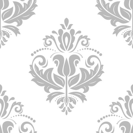 Damask seamless pattern. Vector traditional grey ornament with oriental elements for backgrounds Vector
