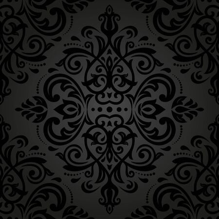 Damask  floral pattern with arabesque and oriental black elements. Seamless abstract traditional ornament for wallpapers and backgrounds photo