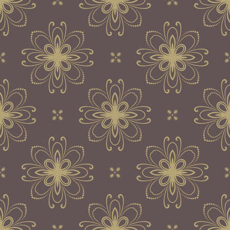rapport: Floral vector oriental pattern with damask and floral elements. Seamless abstract golden ornament for backgrounds Illustration