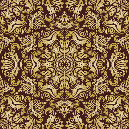 Damask seamless pattern. Vector traditional ornament with golden oriental elements for backgrounds Vector