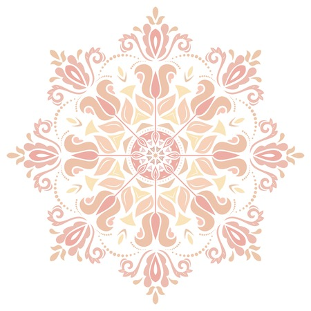 Damask vector floral pattern with arabesque and oriental elements. Abstract traditional colorful round ornament for backgrounds Vector
