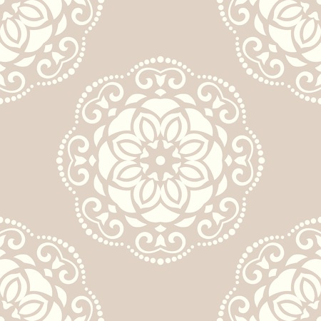 Damask seamless pattern. Fine vector traditional ornament with oriental elements for backgrounds. Pink and white colors Vector