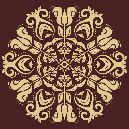 Oriental vector pattern with arabesque and floral elements. Abstract golden ornament Vector
