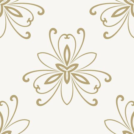Floral vector oriental pattern with golden floral elements and pink background. Seamless abstract ornament Vector