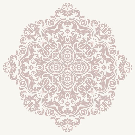 Floral vector oriental pattern with arabesque and floral pink elements. Abstract ornament for background
