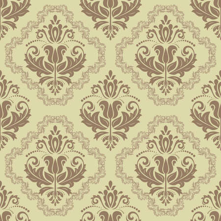 Damask seamless pattern. Fine vector traditional ornament with old brown classic elements Vector