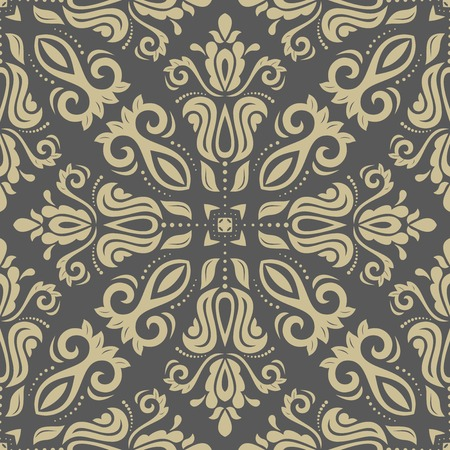 Pattern in the style of baroque. Seamless vector background. Damask texture with orient and floral elements. Golden and grey colors Vector