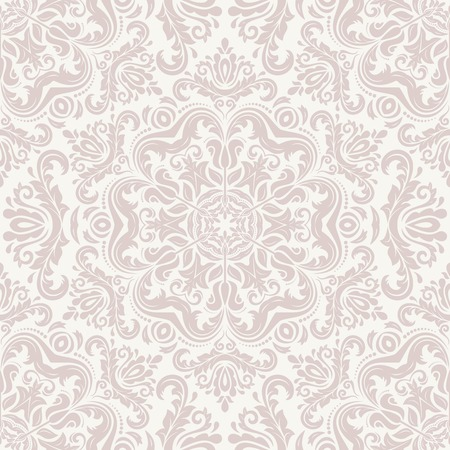 Damask seamless pattern. Fine vector traditional ornament with oriental pink elements Vector