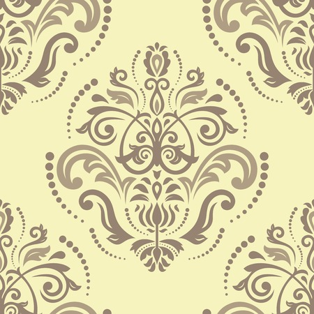 Damask seamless pattern. Fine vector traditional ornament with damask and oriental elements. Brown and beije colors Vector