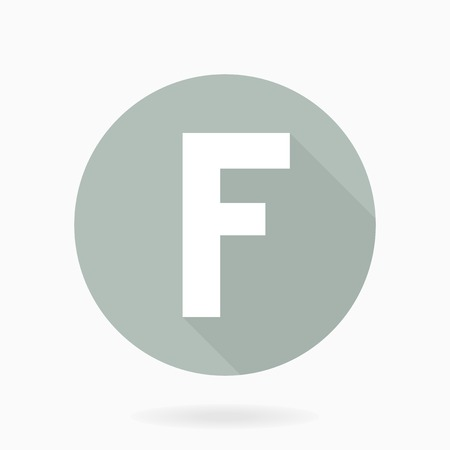 friend  nobody: Letter F  white icon with flat design and long shadow