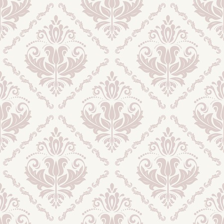 Pattern in the style of baroque. Seamless vector pink background. Damask texture with orient and floral elements Vector