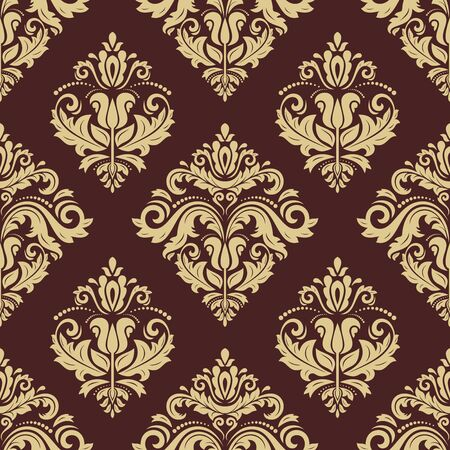 tillable: Floral vector oriental pattern with damask, arabesque and floral elements. Seamless abstract wallpaper and background