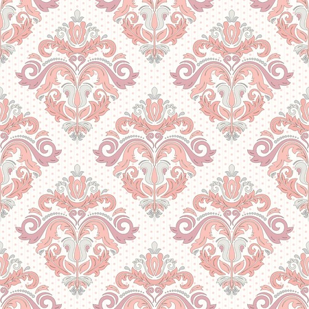 Damask vector floral pattern with arabesque and oriental colrful elements. Seamless light abstract traditional ornament for wallpapers and background Vector