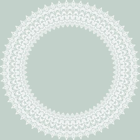 oriental vector: Oriental vector round blue pattern with damask, arabesque and floral white elements. Abstract ornament