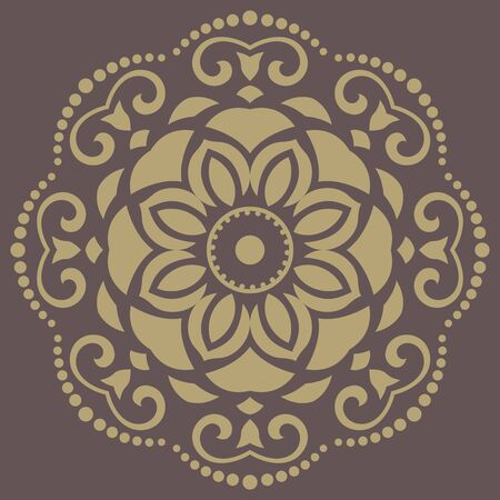 Floral vector oriental pattern with damask, arabesque and floral elements. Abstract wallpaper and background Vector