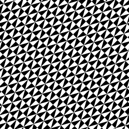 Geometric vector pattern with triangles arranged diagonally. Black-white seamless abstract ornament for wallpapers and background Vector