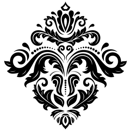 Damask floral pattern with arabesque and oriental elements.