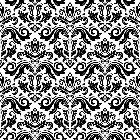 Oriental vector pattern with damask, arabesque and floral elements. Seamless abstract background. Black and white colors  イラスト・ベクター素材