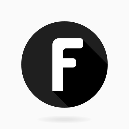 Fine vector letter F in the circle. Flat design and long shadow. Black and white colors Vector