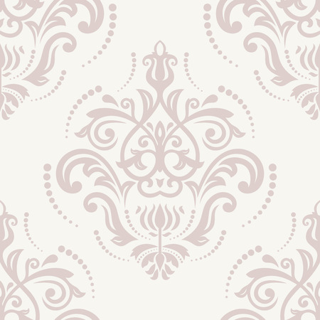 repetition: Oriental vector pink pattern with damask, arabesque and floral elements. Seamless abstract background Illustration