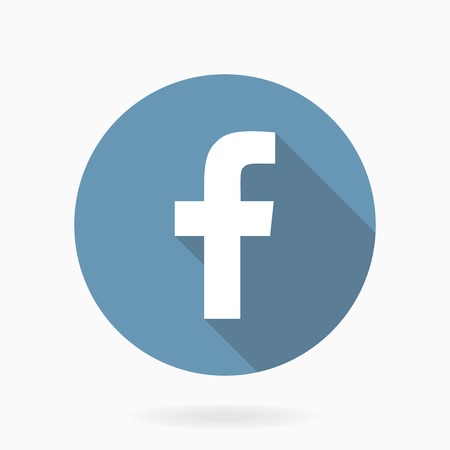 facebook: Letter F  icon in blue circle with flat design and long shadow Stock Photo