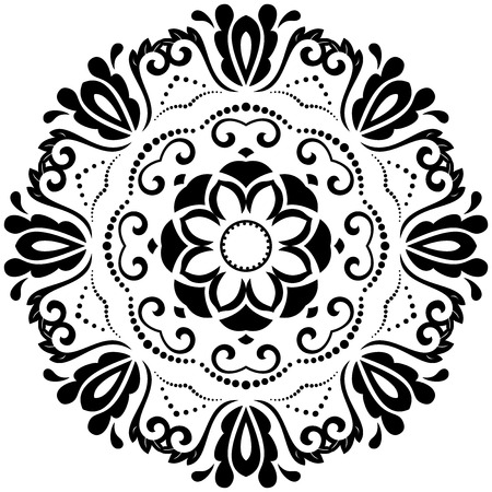 Damask vector floral pattern with arabesque and oriental elements. Abstract traditional ornament. Black and white Illustration