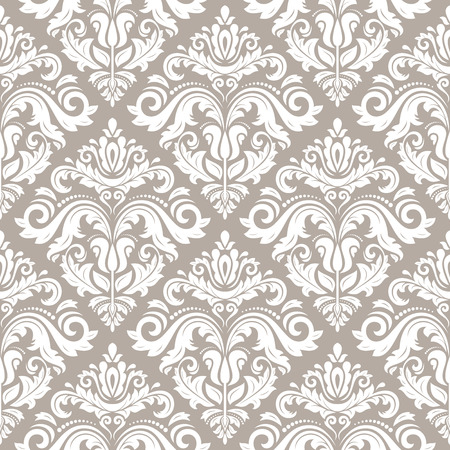 Damask seamless pattern. Fine vector traditional fine ornament with white oriental elements